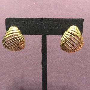 Large gold tone post earrings.  2/$10 Sale